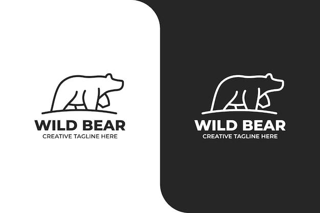 Wild bear silhouette monoline logo