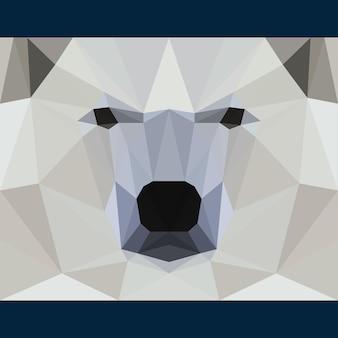 Дикий медведь смотрит вперед. предпосылка темы жизни природы и животных. абстрактная геометрическая многоугольная иллюстрация треугольника для использования в дизайне для открытки, приглашения, плаката, баннера, плаката, обложки рекламного щита