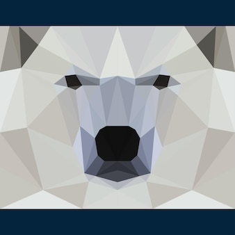 Wild bear stares forward. nature and animals life theme background. abstract geometric polygonat triangle illustration for use in design for card, invitation, poster, banner, placard, billboard cover
