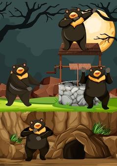 Группа диких медведей во многих позах в мультяшном стиле парка животных