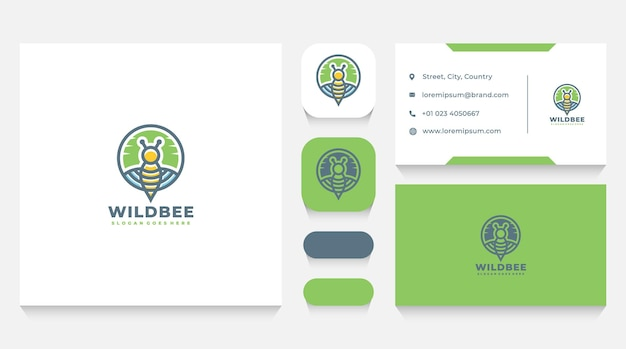 Wild bee logo template and business card
