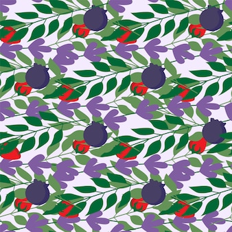 Wild berries and herbal leaves seamless pattern , fashion, interior, wrapping