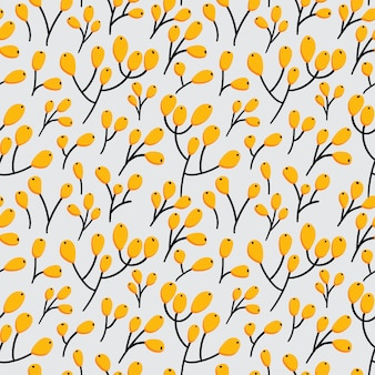 Wild berries small branch seamless pattern
