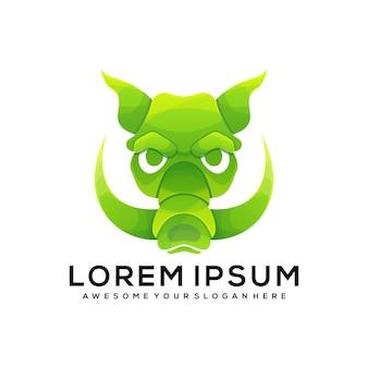 Дикий кабан красочный градиент стиль логотипа иллюстрации