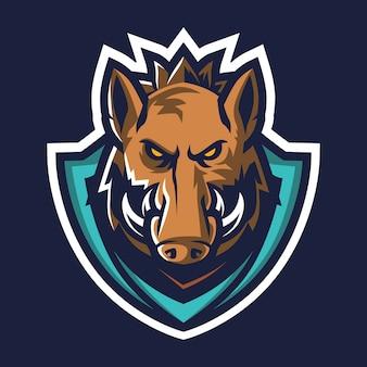Иллюстрация логотипа киберспорта дикого кабана