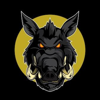 Логотип wild boar head logo