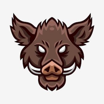 イノシシの頭のマスコットスポーツのロゴ