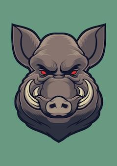 Wild boar head vector