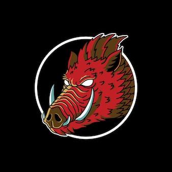 멧돼지 빈티지 문신 그림