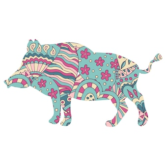 Wild boar with an abstract pattern