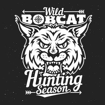野生のボブキャットlynx狩猟シーズン、ハントクラブバッジ