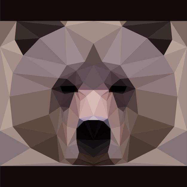 Дикий бурый медведь смотрит вперед. предпосылка темы жизни природы и животных. абстрактная геометрическая многоугольная иллюстрация треугольника для дизайна карты, приглашения, плаката, баннера, плаката, обложки рекламного щита