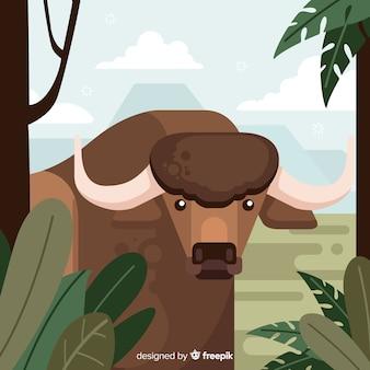 Wild buffalo cartoon illustration