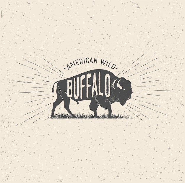 Wild buffalo in vintage styled