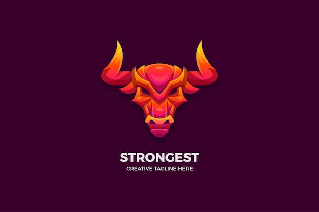 The wild bull gradient 3d logo template