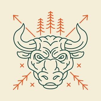 Голова дикого быка Premium векторы