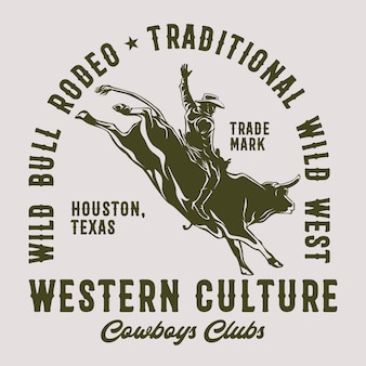 Wild bull rodeo for graphic print