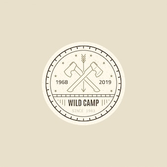 Wild camp badge . two crossed axes. wild forest survival. black and white line   style illustration.
