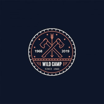 Wild camp badge . two crossed axes. wild forest survival. line   style illustration.