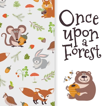 Wild cartoon animals banner. cute bear, fox, mouse, rabbit