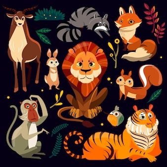 Wild cartoon animals set in flat style