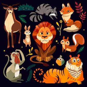 フラットスタイルで設定された野生の漫画の動物