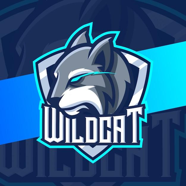 Дикий кот рысь талисман кибер дизайн логотипа