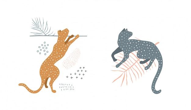 자연에서 야생 고양이 최소한의 현대 미술 실루엣 디자인 인쇄.