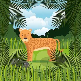 Wild cheetah in the jungle scene