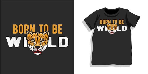 Дизайн футболки с диким гепардом