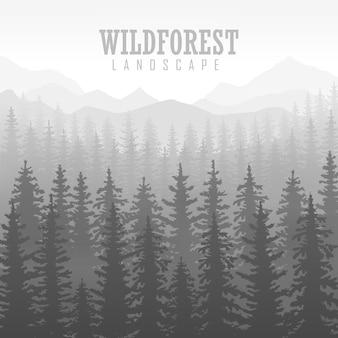 야생 침엽수 숲 배경입니다. 소나무, 풍경 자연, 나무 자연 파노라마. 야외 캠핑 디자인 템플릿입니다. 벡터 일러스트 레이 션