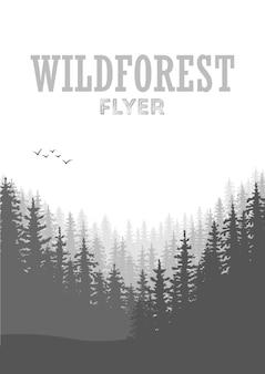야생 침엽수 숲 전단지 배경입니다. 소나무, 풍경 자연, 나무 자연 파노라마. 야외 캠핑 디자인 템플릿입니다. 벡터 일러스트 레이 션