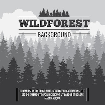 Wild coniferous pine forest vector outdoor nature background