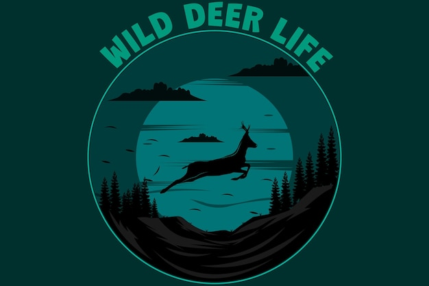 야생 사슴 생활 복고풍 빈티지 디자인