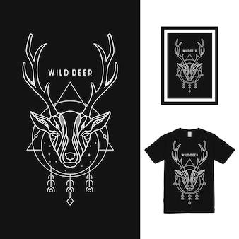 野生の鹿ラインアートtシャツデザイン