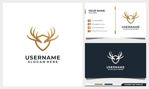 Wild deer logo design with line art style and shield concept and business card template