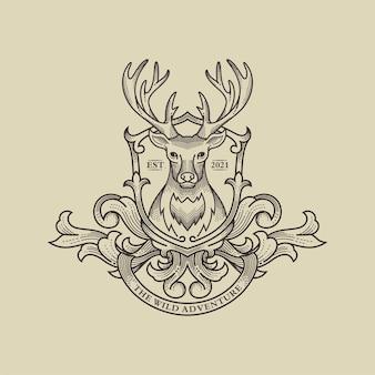 야생 사슴 로고 그림