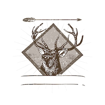 Wild deer logo illustration