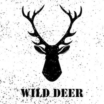 グランジ効果のイラストと野生の鹿のロゴ
