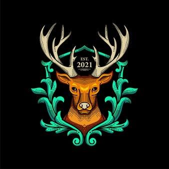 野生の鹿のロゴ