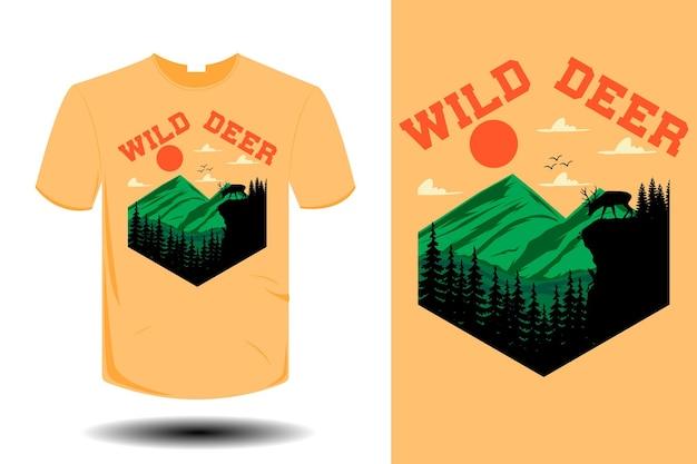野生の鹿のモックアップレトロなヴィンテージデザイン