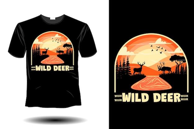 Wild deer mockup retro vintage design