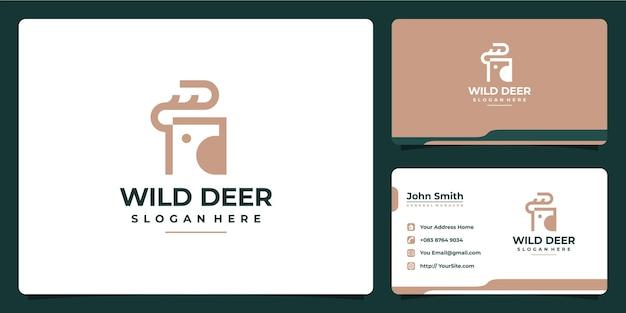 야생 사슴 현대 라인 미니멀 로그 디자인 및 명함