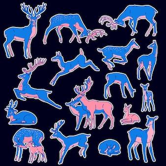 야생 사슴 실루엣 스티커 블루 핑크 벡터 아트는 다른 포즈의 삽화를 가진 아기와 함께 남성과 여성을 설정합니다. 프리미엄 벡터