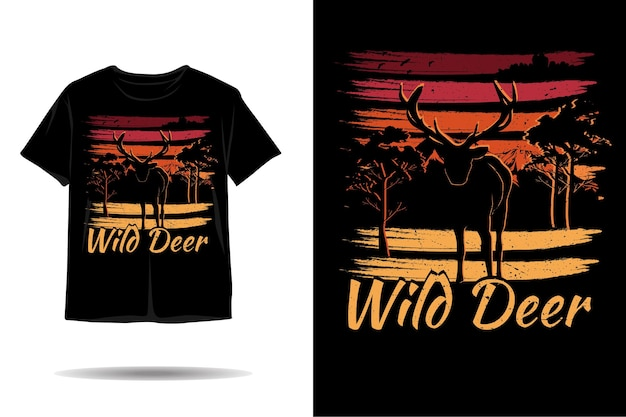 Wild deer silhouette tshirt design