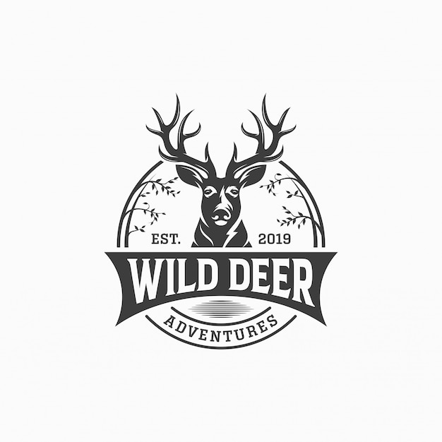 Wild deer vintage logo design vector template