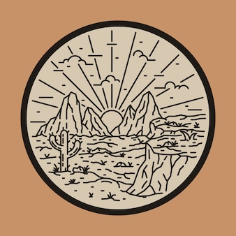 Wild desert cactus line  patch pin  illustration