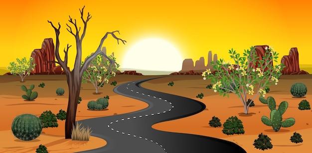 昼間のシーンで野生の砂漠の風景 Premiumベクター