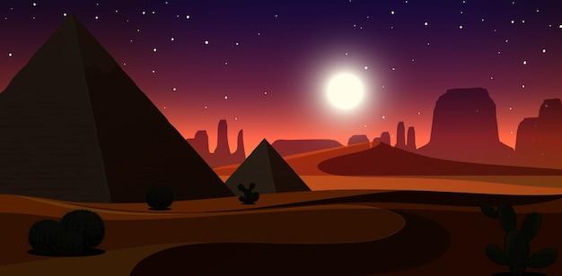 夜景の荒野砂漠風景