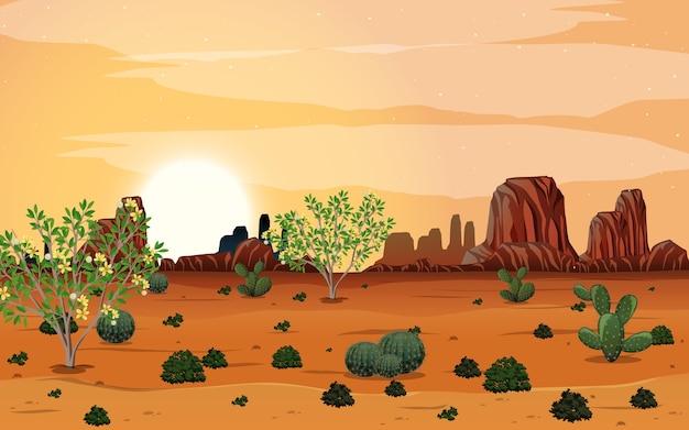 Paesaggio selvaggio del deserto alla scena diurna
